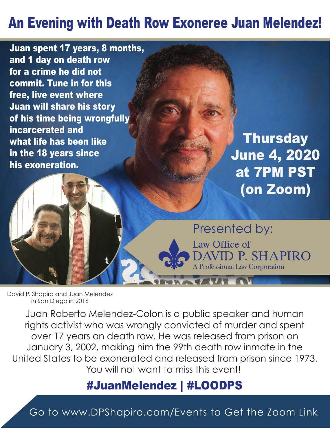 Juan Melendez June 4 Event